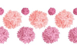 Vector Set of Pink Birthday Party Paper Pom Poms Set Horizontal Seamless Repeat Border Pattern. Great for handmade cards, invitations, wallpaper, packaging, nursery designs.