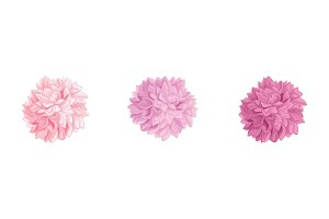 Vector Set of 3 Pink Birthday Party Paper Pom Poms Set Horizontal Seamless Repeat Border Pattern. Great for handmade cards, invitations, wallpaper, packaging, nursery designs.
