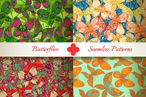 Butterflies seamless patterns