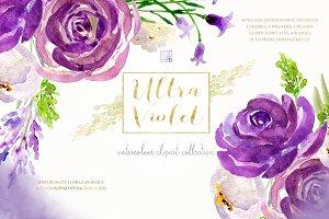 Ultra violet watercolor clipart