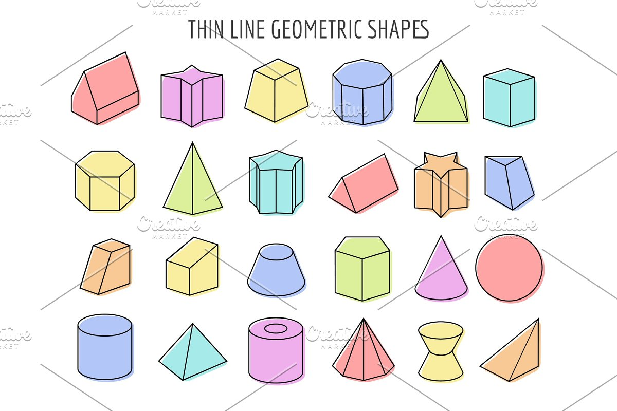 Colorfull 3d geometry shapes