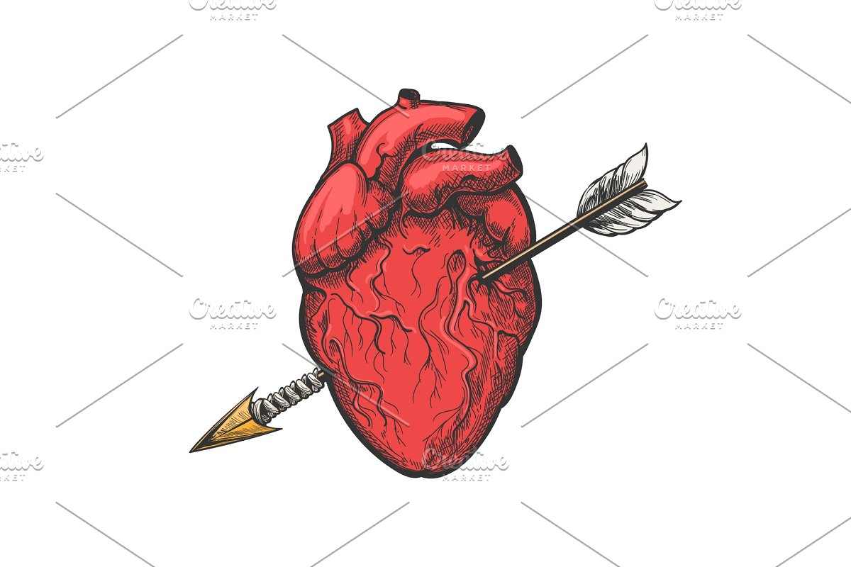 44ab57122888d Human heart with arrow tattoo etching ~ Illustrations ~ Creative Market