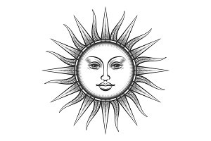 Engraved sun antique face symbol