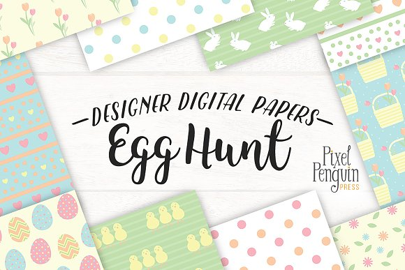 Egg Hunt Easter Pattern Papers