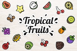 Tropical Fruits Sticker Set