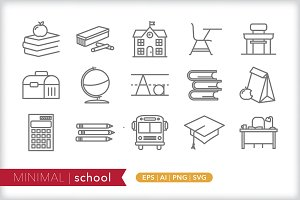 Minimal school icons