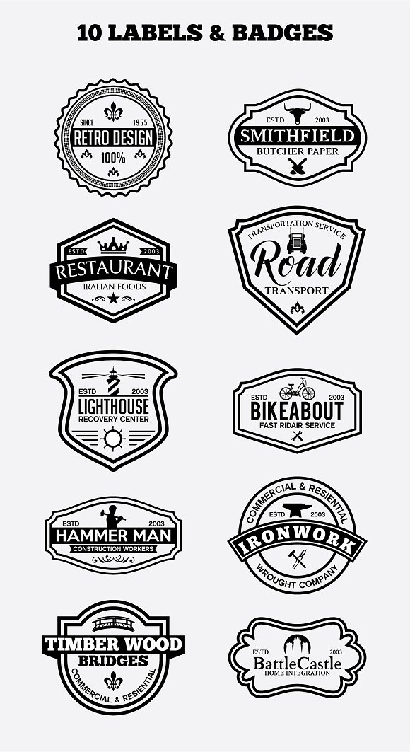 10 Vintage Badges And Logos Vol5