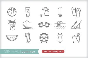 Minimal summer icons