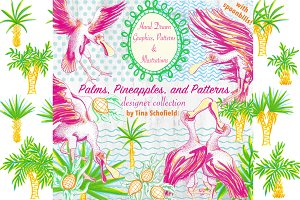 Spoonbills Pineapples Palms Patterns