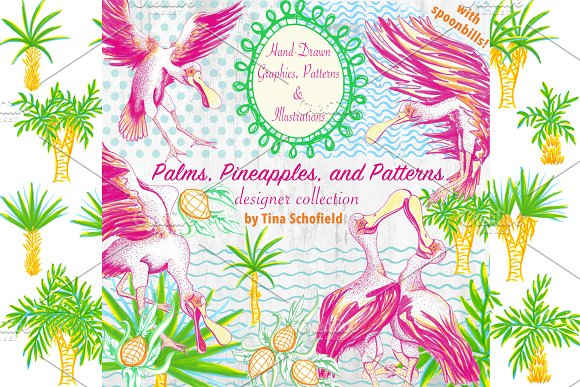 Spoonbills Pineapples Palms Patterns