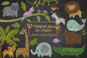 Chalkboard Baby Zoo Animals Clipart