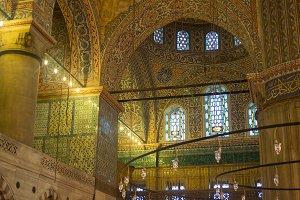 Interior of the Sultanahmet Mosque Blue Mosque in Istanbul, Turkey