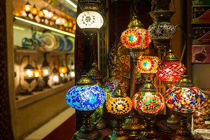 colored lamps hanging at the Grand Bazaar in Istanbul, Turkey