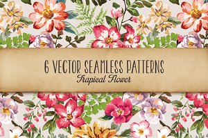 Seamless tropical flowers Vol.3