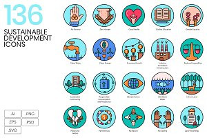 136 Sustainable Development Icons