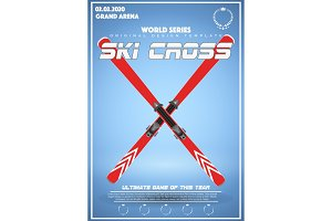 Poster Template of Winter Games of SKI Cross