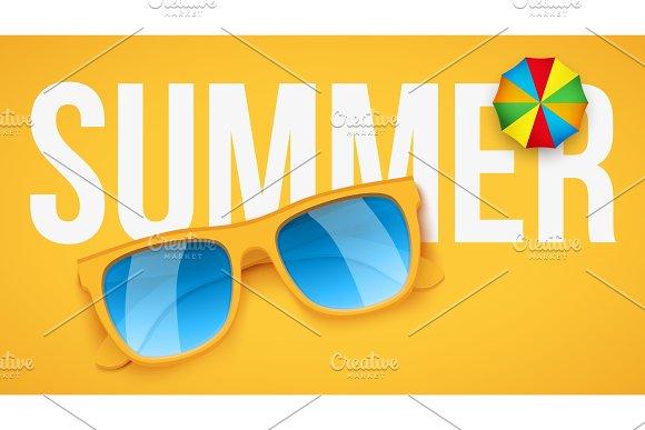 Yellow sunglasses on yellow background.