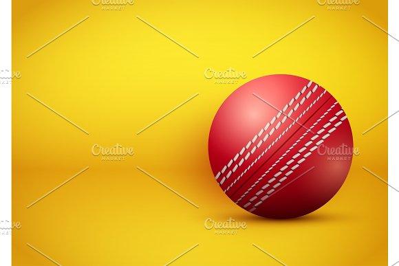 Cricket Ball On Bright Orange Background