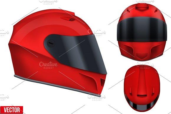 Motor Racing Helmet With Glass Visor