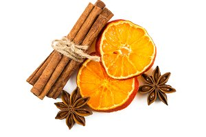 Cinnamon, dried orange and star anis