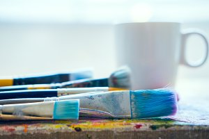 Paint brushes in the studio