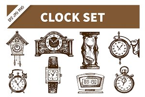 Clock & Watch Hand Drawn Vintage Set