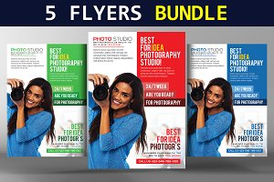 5 Flat Design Corporate Flyer Bundle