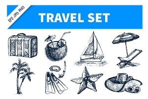 Travel Hand Drawn Set