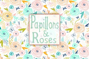 Papillons & Roses patterns