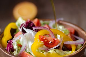 Fresh salad with olive oil.