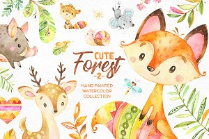Cute Forest 2.Collection of animals