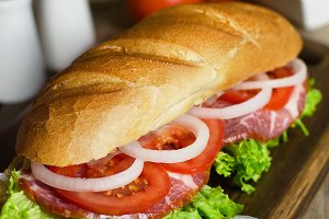 Fresh homemade sandwich with meat.