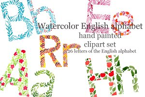 Watercolor English alphabet