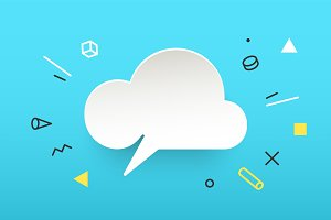Cloud. Banner, speech bubble