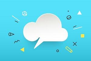 Cloud. Banner, speech bubble