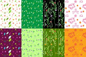 8 flowers seamless patterns