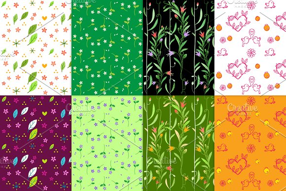 8 flowers seamless patterns