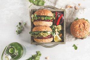 Vegan beet burger with guacamole