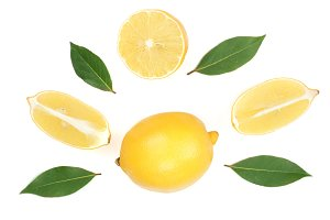 lemon and slices with leaf isolated on white background. Flat lay, top view