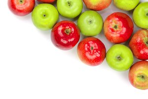 red and green apples isolated on white background with copy space for your text, top view. Flat lay pattern