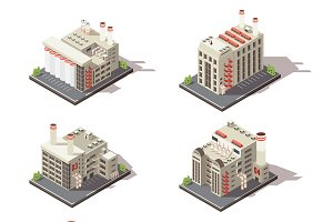Isometric Factory Icon Set