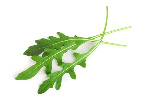 Green fresh rucola or arugula leaf isolated on white background macro