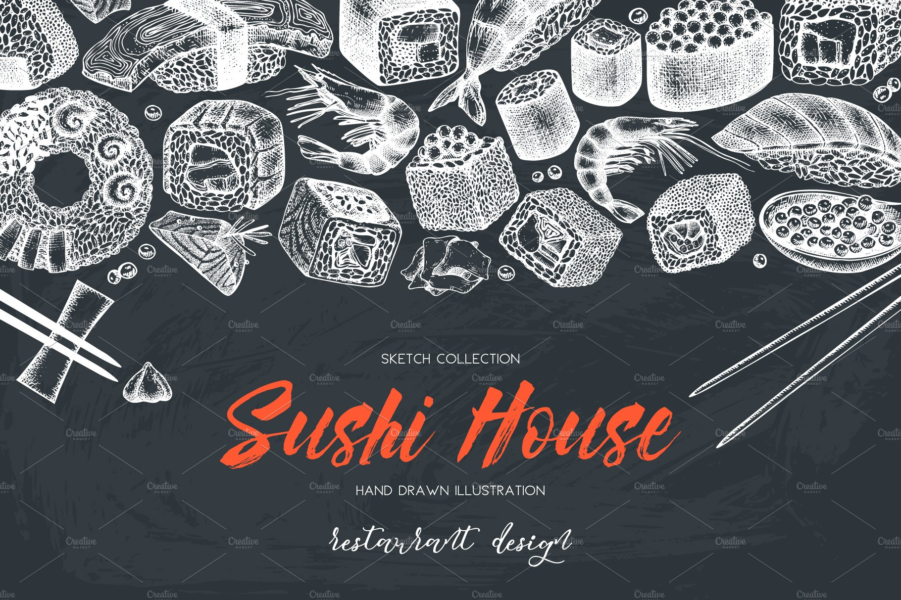 Hand Sketched Sushi Collection Illustrations Creative Market Mystore365com Meter6013capacitancecapacitortesterincircuithtml