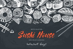 Hand Sketched Sushi Collection