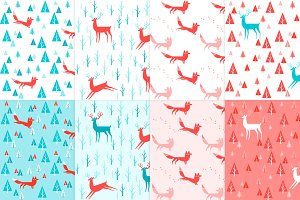 8 foxes and deers seamless patterns