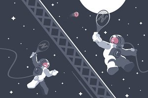 Astronauts playing tennis