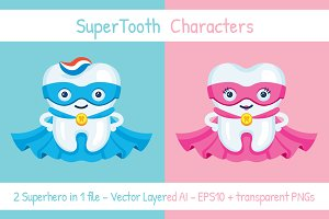 SuperTooth male & famale characters
