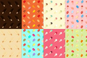 8 icecream seamless patterns