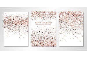 Banners set with nude confetti