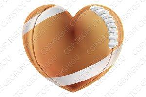 Love Heart Shape American Football Ball Concept